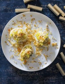 Oeufs mimosa, oeufs de truite et poutargue