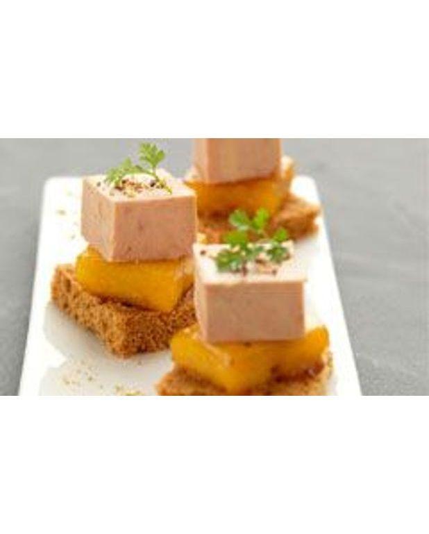 Bouch es de foie gras la mangue caram lis e pour 4 for Entree avec du foie gras froid