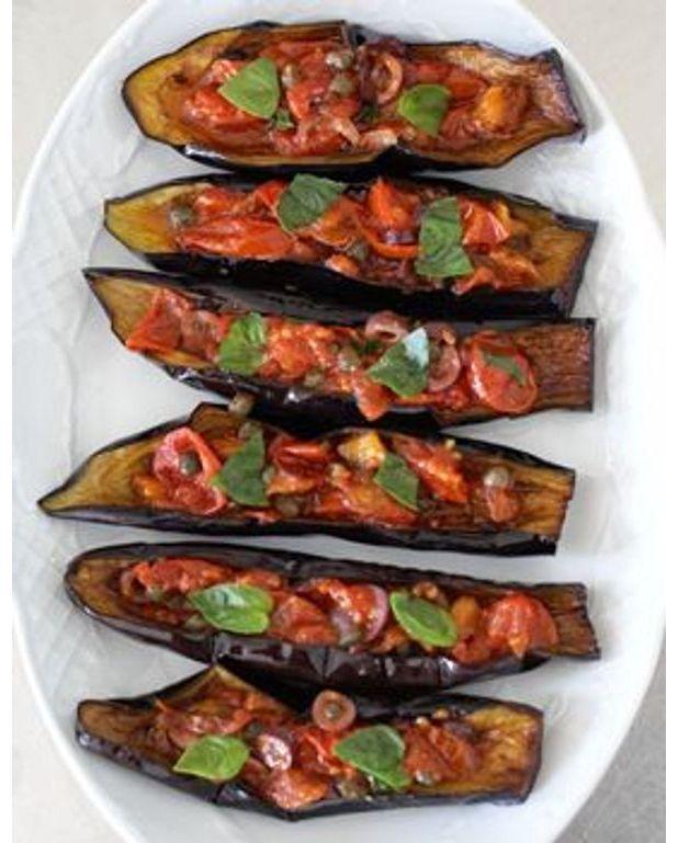 Petits bateaux d 39 aubergines pour 4 personnes recettes - Recette de cuisine marmiton entree froide ...