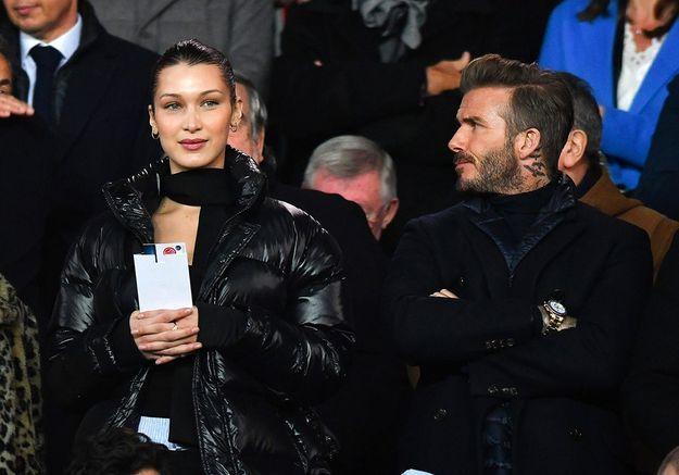 Bella Hadid et David Beckham au Parc des Princes