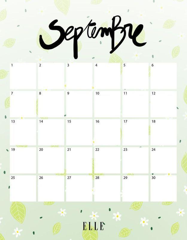 ... gratuitement votre calendrier du mois de septembre - Elle