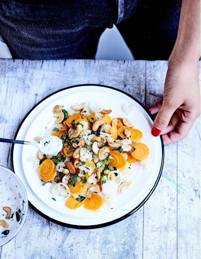 Salade tiède de carottes et céleri au cerfeuil