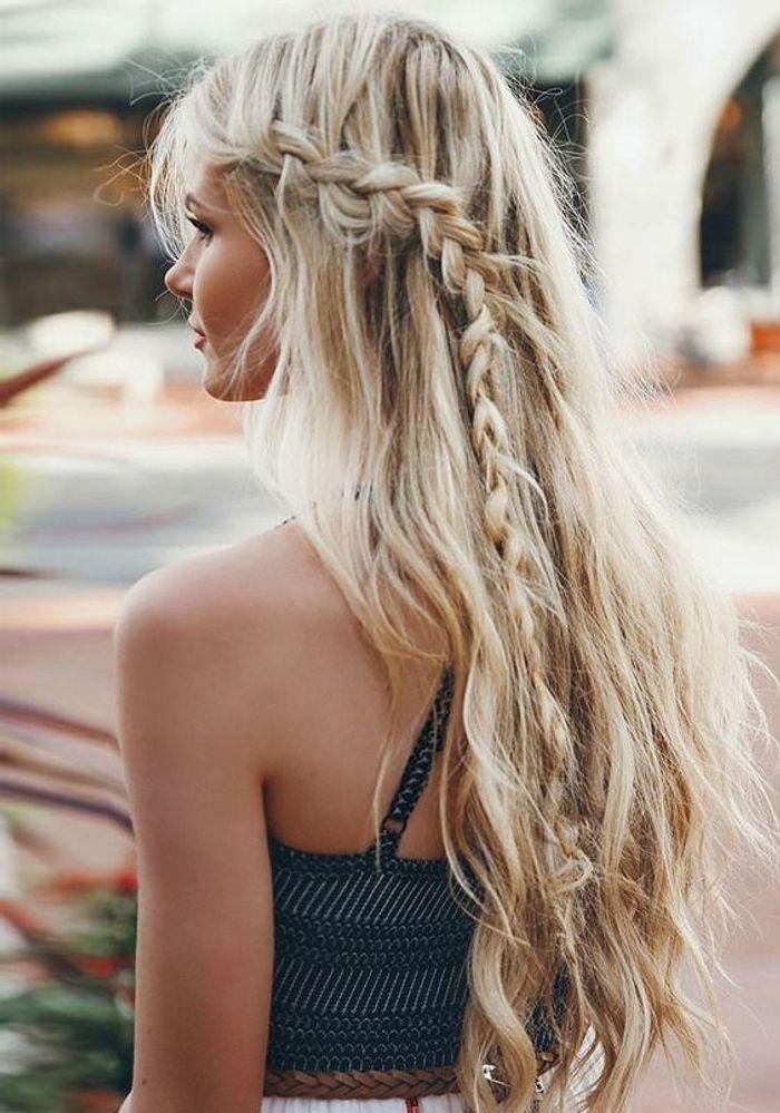 Populaire Coiffure cheveux longs avec tresse sur le côté - Coiffure cheveux  IK34