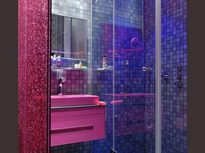 Salles de bains le carrelage fait sensation elle d coration - Carrelage mauve salle bain ...