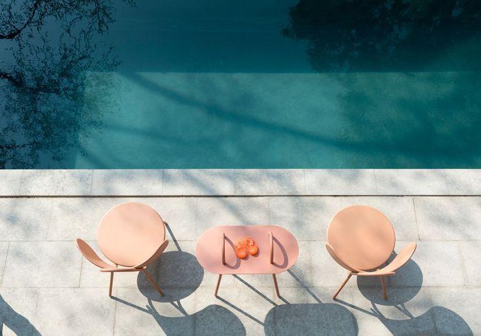 Une décoration rose poudré via du mobilier outdoor