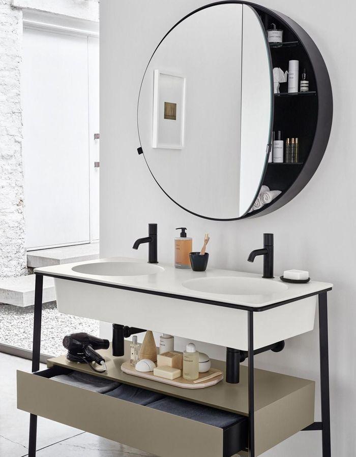 Le miroir rond façon rangement pour gagner de la place