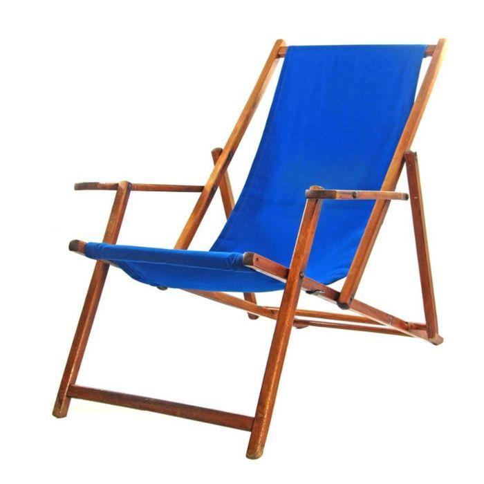 Chaise de Plage Vintage Ajustable Bleue