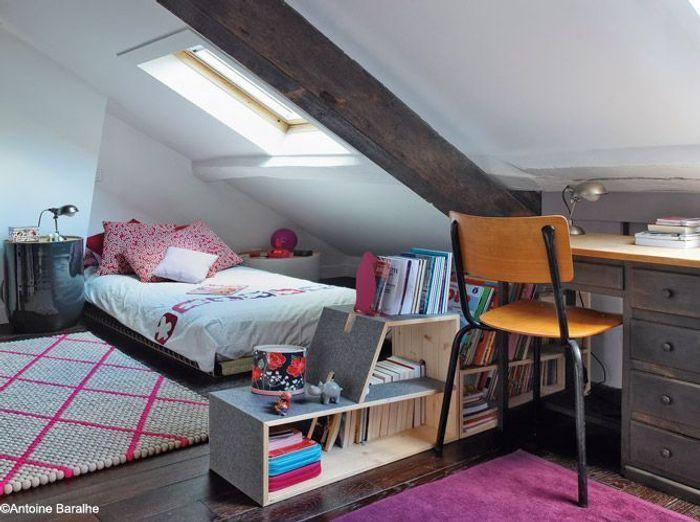 chambrefille comble poutre bureau - Chambre Petite Fille Design