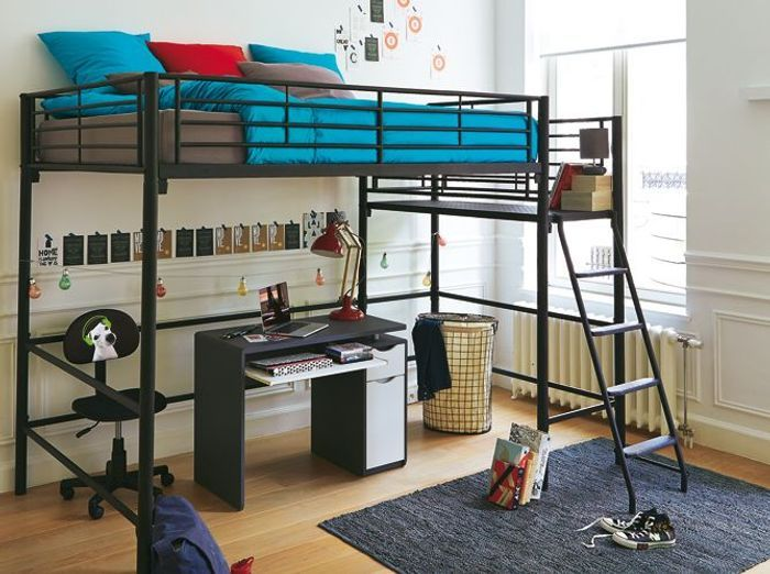 chambre fille mezzanine lit mezzanine 90x200 avec bureau. Black Bedroom Furniture Sets. Home Design Ideas
