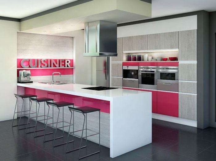 Craquez pour une cuisine originale elle d coration for Cuisine rose et gris