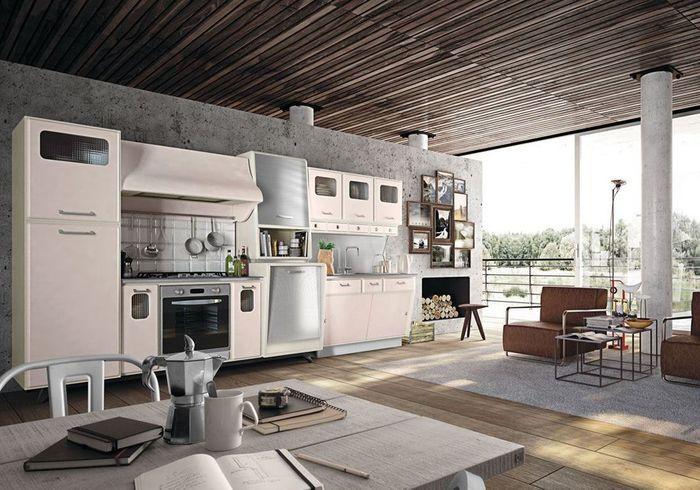 Cuisine vintage composée de mobilier aux formes arrondies
