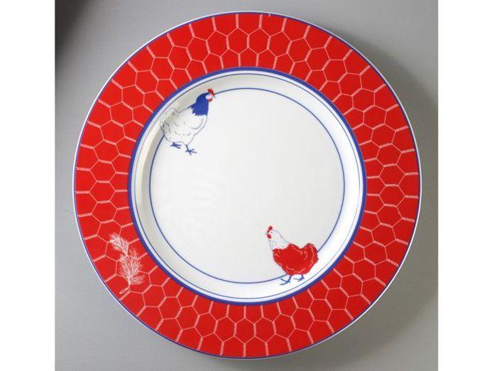 assiette rouge thème poule