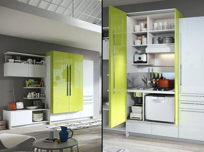 une cuisine cach e dans un placard elle d coration. Black Bedroom Furniture Sets. Home Design Ideas