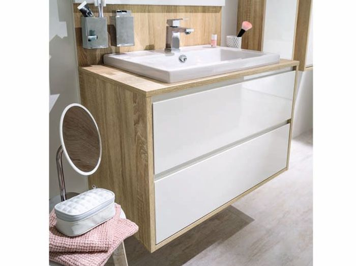 meuble sous vasque avec rangements pour petite salle de bains - Meuble De Rangement Petite Profondeur