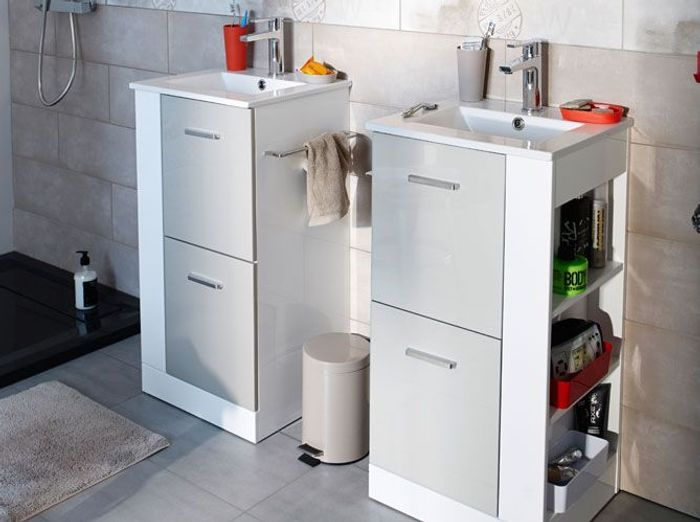 Petit meuble salle de bains notre s lection elle for Castorama meuble salle de bain avec vasque