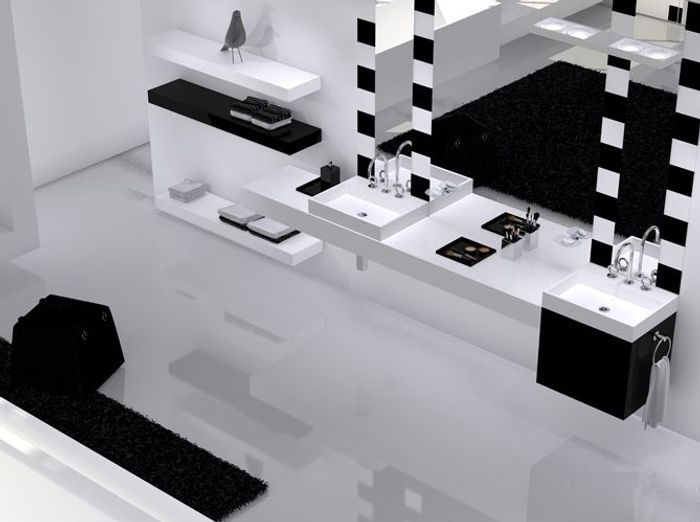 La salle de bains s 39 habille en noir et blanc elle d coration for R s bains pharmacy