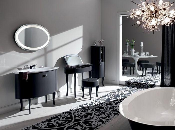 La salle de bains s 39 habille en noir et blanc elle d coration for Salle de bain design noir et blanc