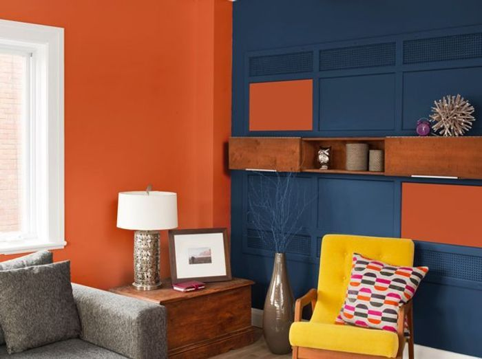 decoration salon peinture orange. Black Bedroom Furniture Sets. Home Design Ideas