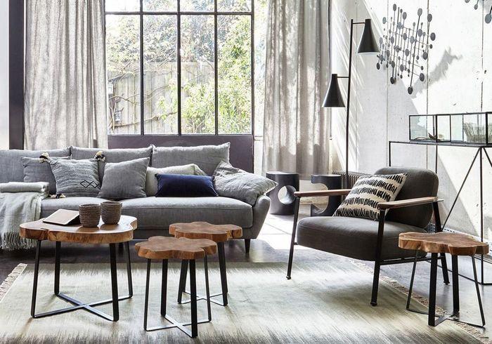 Un salon gris chaleureux