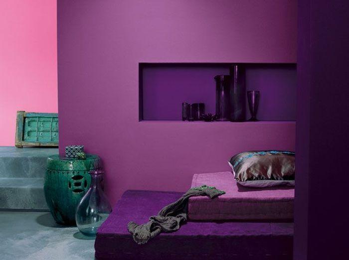 Les murs font le plein de couleurs elle d coration for Carrelage couleur prune