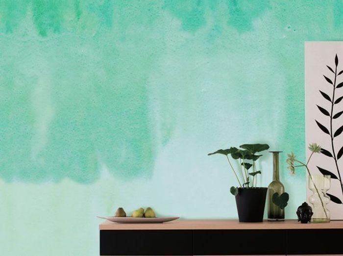 Un papier peint vert effet aquarelle