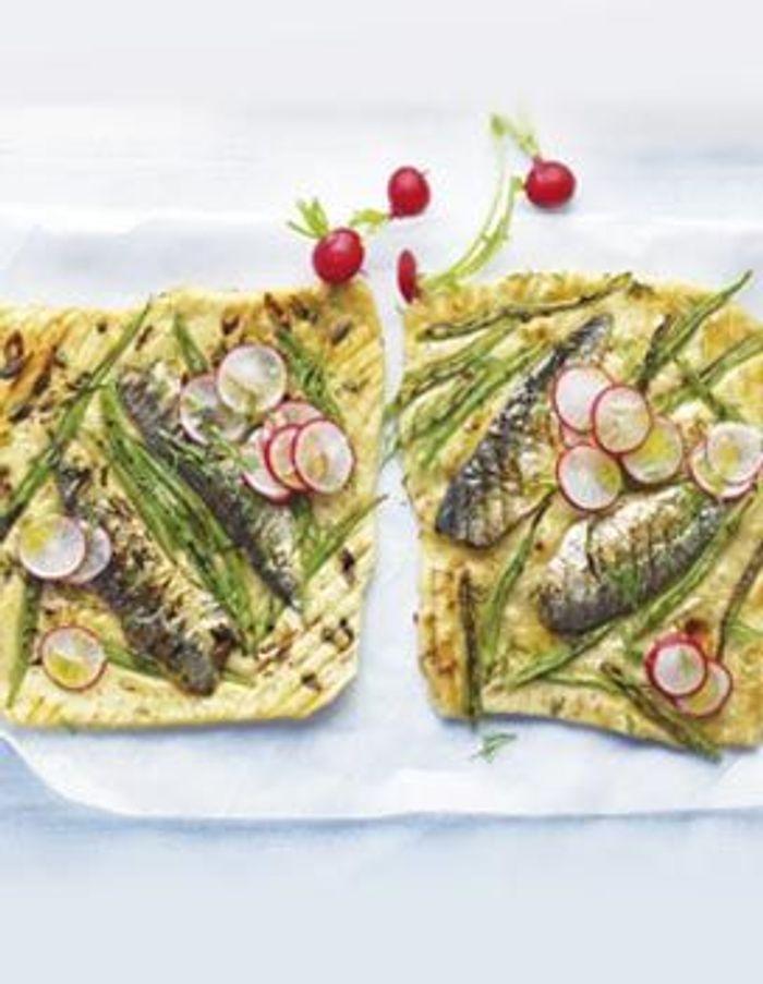 Petites pizzas aux sardines et haricots plats