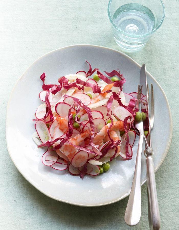 Salade croquante aux crevettes