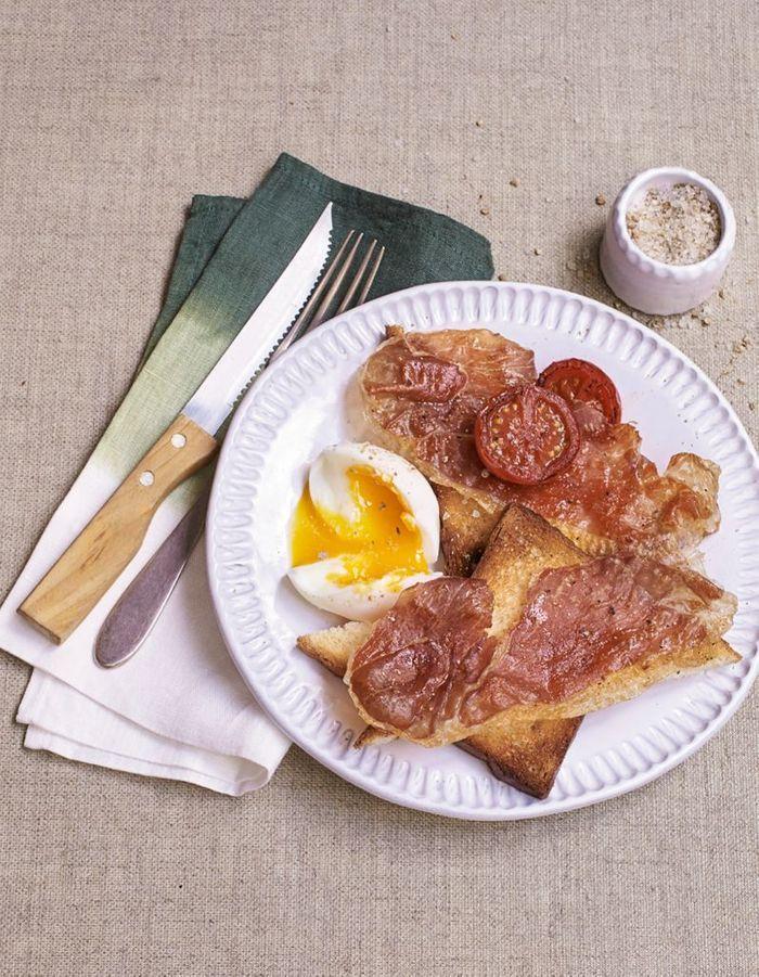 Toasts au jambon et œuf mollet