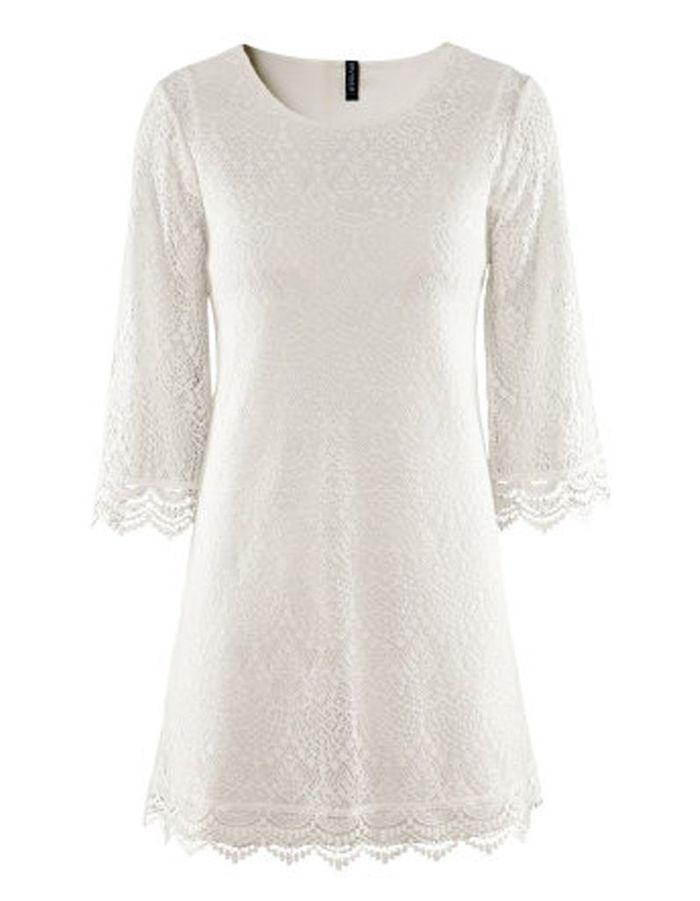 robe courte en dentelle blanche h m 50 robes de mari e qui changent elle. Black Bedroom Furniture Sets. Home Design Ideas