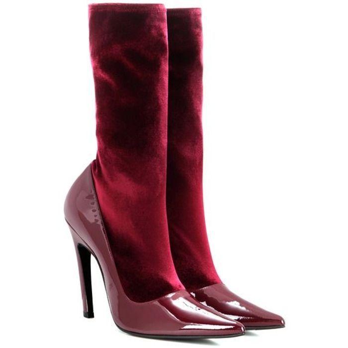 Bottes rouges bi-matières Balenciaga