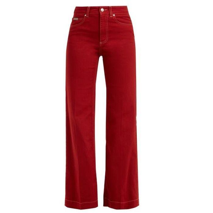 Jean taille haute rouge Alexa Chung