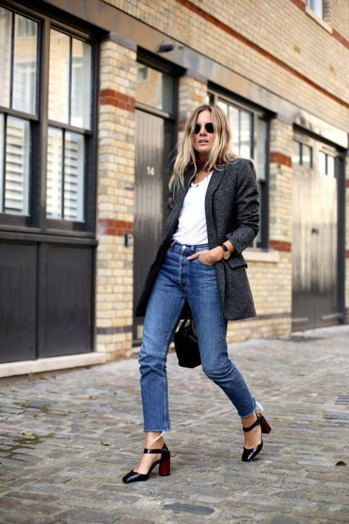 avec une veste d 39 homme street style comment les filles look es portent le jean vintage elle. Black Bedroom Furniture Sets. Home Design Ideas