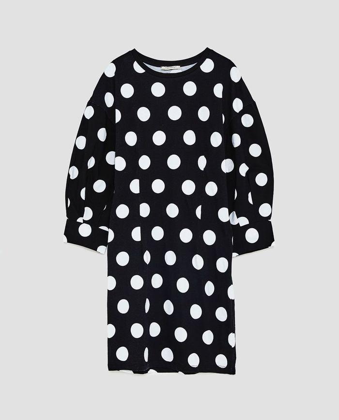 Robe à pois noirs et blancs Zara