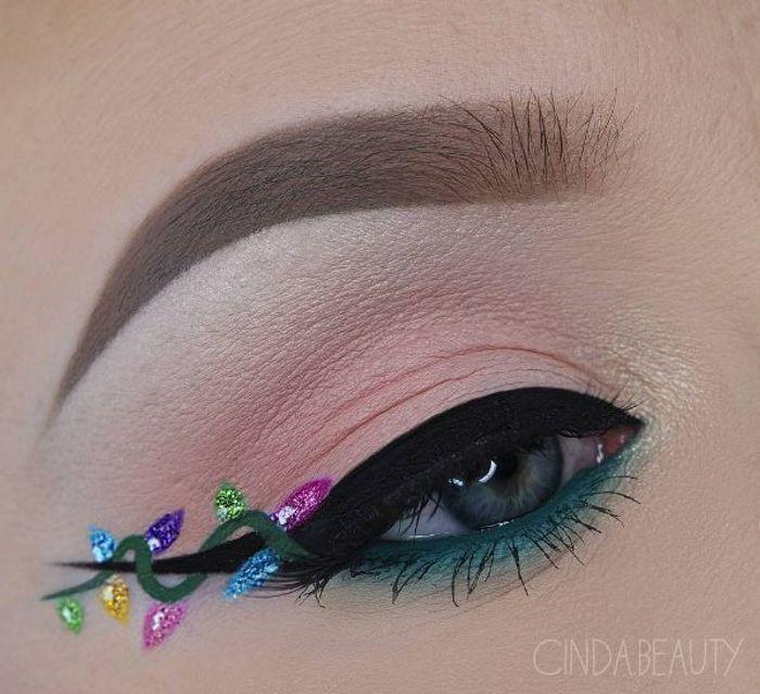 Maquillage des yeux fa on guirlande de no l 10 id es for Decoration yeux