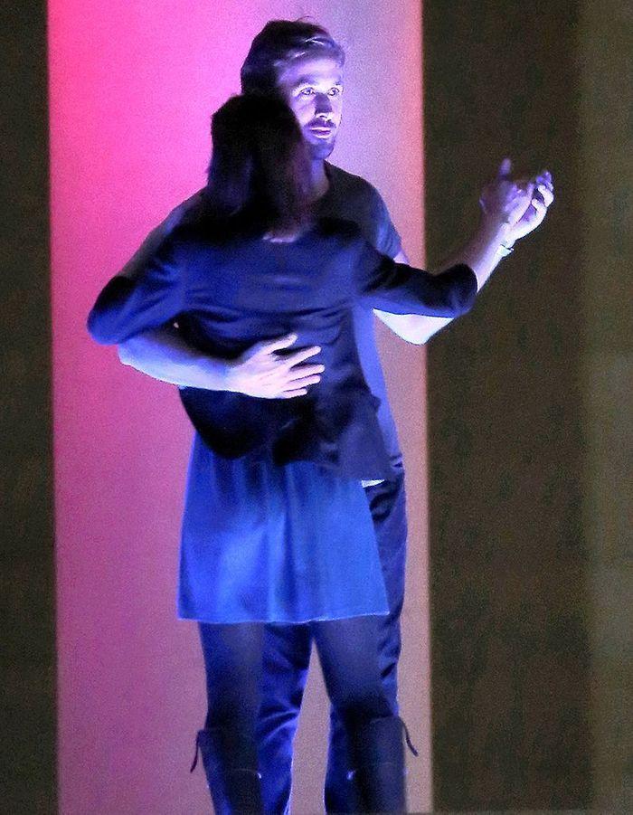 Avec Rooney Mara, sur le tournage du film de Terrence Malick, à Austin, le 17 octobre 2012.