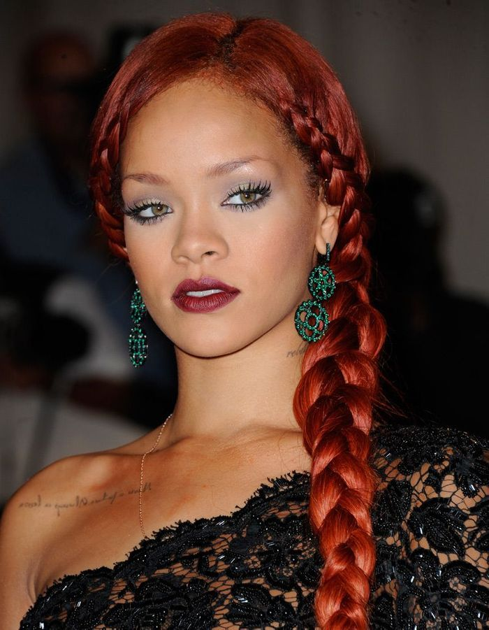 La Tresse Rousse De Rihanna - Coiffure  On Adopte Les Tresses Des Stars - Elle
