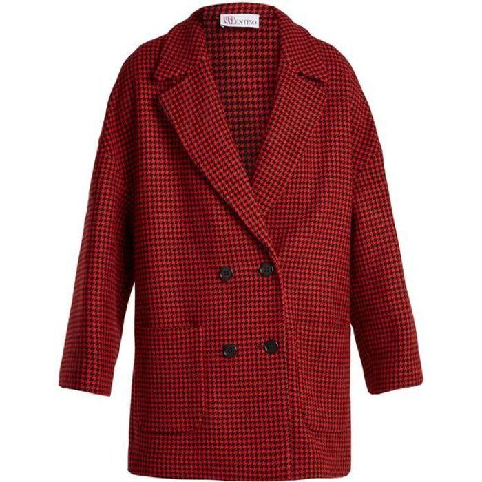 Manteau rouge pied de poule Red Valentino